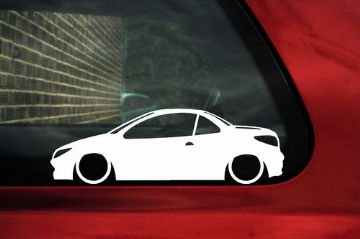 2x LOW Peugeot 206 cc silhouette , car outline stickers / Decals